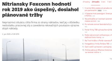 SITA: 2019 was a successful year for Foxconn Slovakia